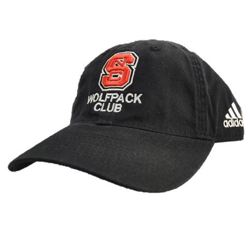 NC State Wolfpack Adidas Black Wolfpack Club Adjustable Slouch Hat