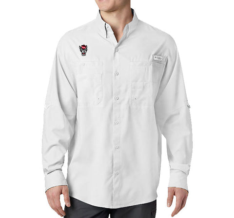 NC State Wolfpack Columbia White Wolfhead Tamiami II Long Sleeve Button Down Shirt