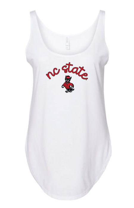 NC State Wolfpack Women's Strutting Wolf Festival Curved Bottom Tank Top