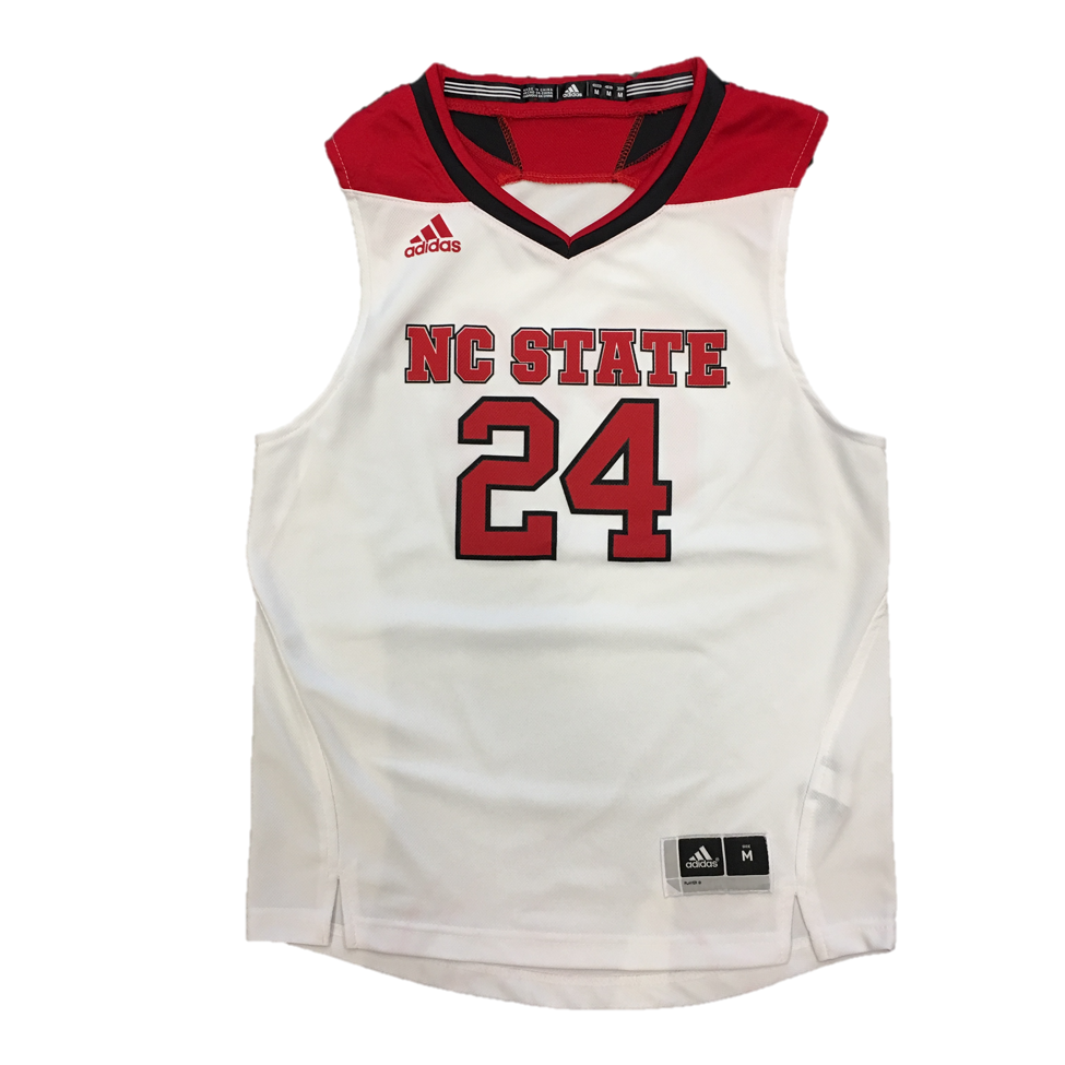 c301c4660cc NC State Wolfpack Adidas® Youth White Replica  24 Basketball Jersey – Red  and White Shop