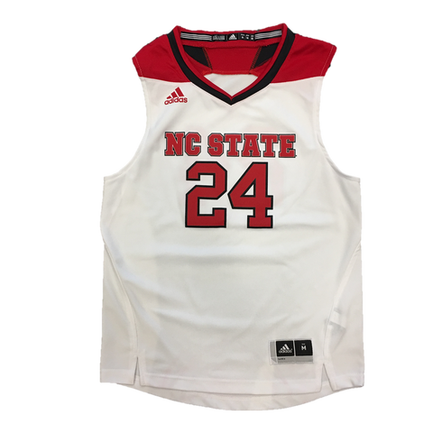 NC State Wolfpack Adidas® Youth White Replica #24 Basketball Jersey
