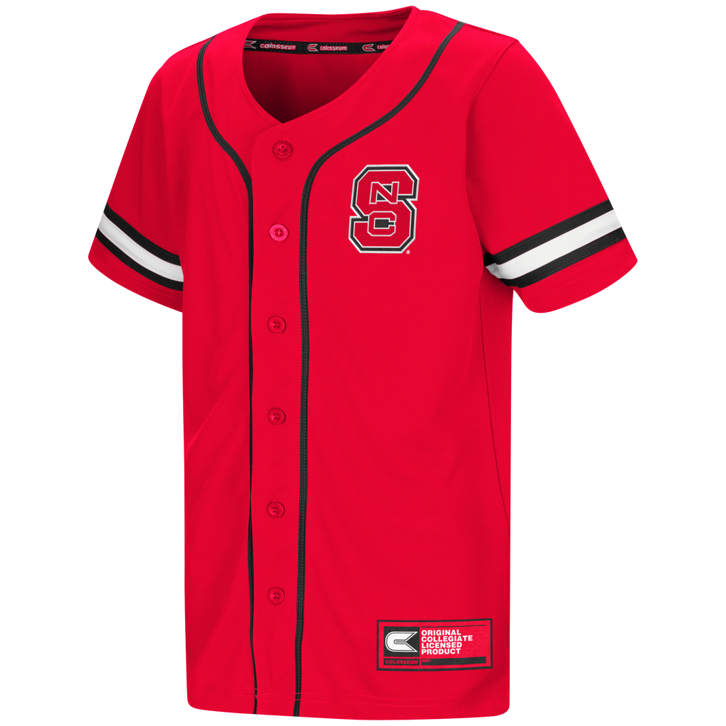 Nc state wolfpack youth red play ball baseball jersey for A bathroom i can play baseball in