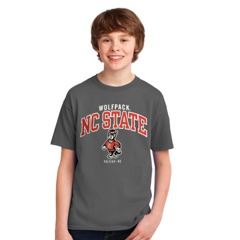 NC State Wolfpack Youth Grey Strutting Wolf Under Wordmark T-Shirt