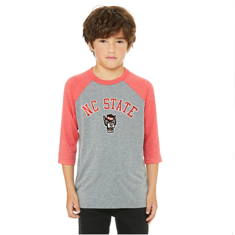 NC State Wolfpack Youth Grey and Red Wolfhead 3/4 Sleeve T-Shirt
