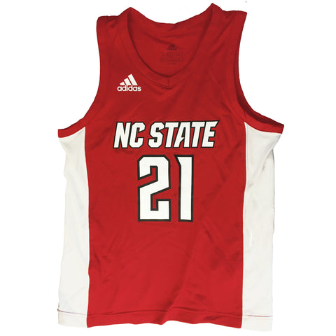 NC State Wolfpack Adidas Youth Red 2020 #21 Basketball Jersey