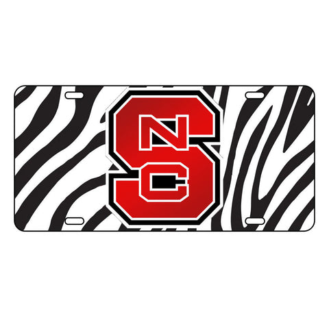 NC State Wolfpack Zebra Red Block S License Plate