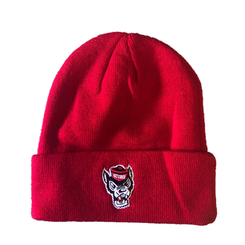 NC State Wolfpack Wolfhead Red Knit Cuffed Beanie
