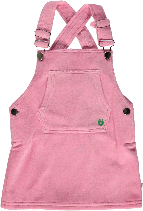 SMAFOLK organic velour dungaree dress PINK