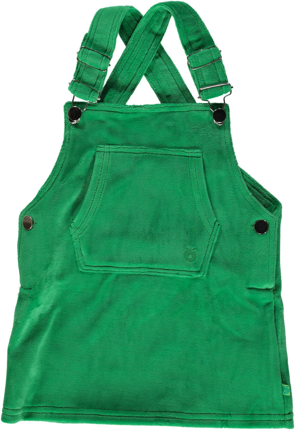SMAFOLK organic velour dungaree dress GREEN