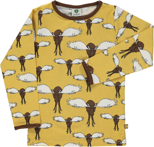 SMAFOLK organic cotton long sleeved top MOOSE/OCHRE