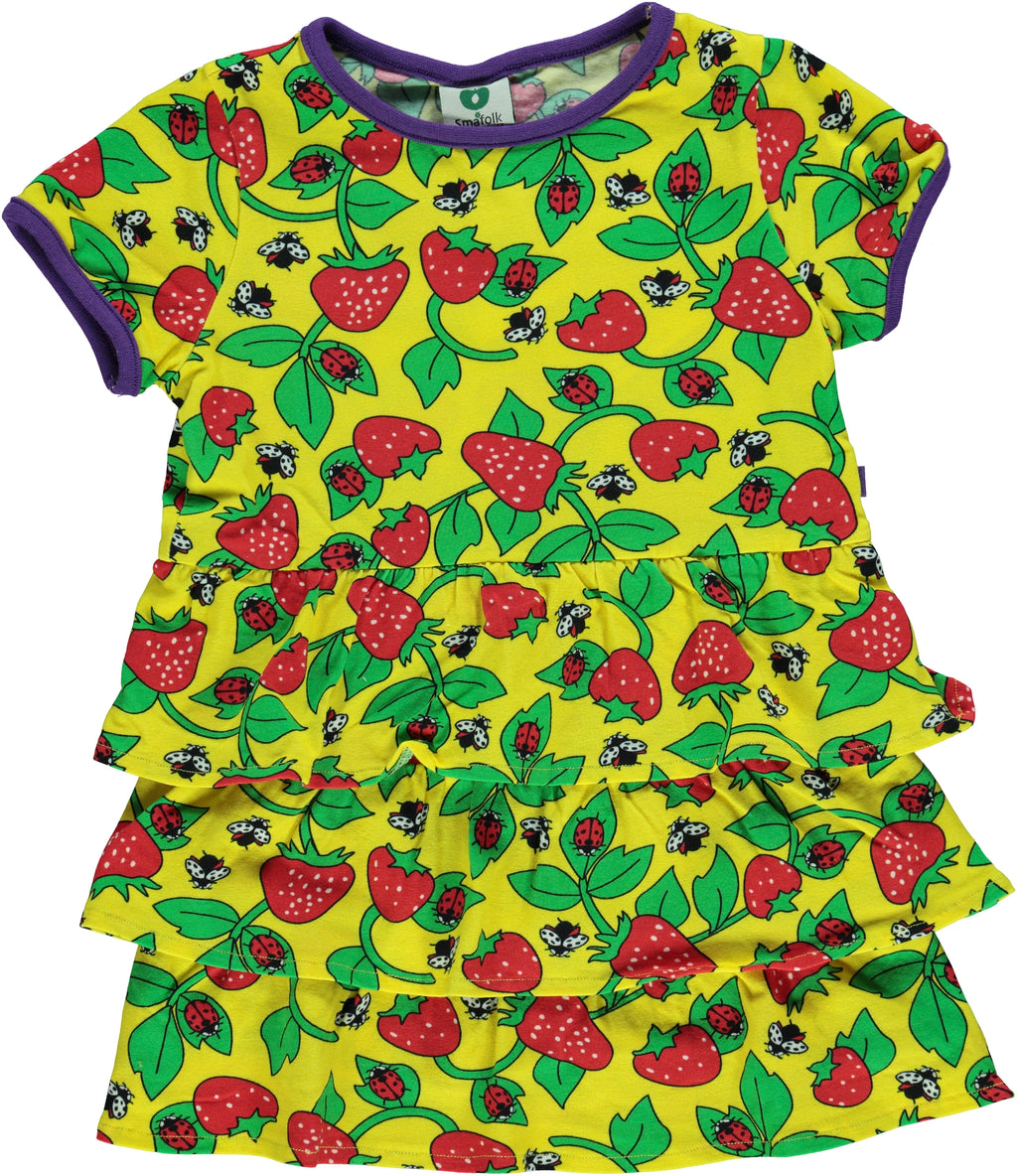 SMAFOLK organic cotton dress with frills STRAWBERRIES