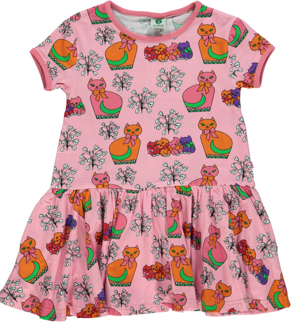 SMAFOLK organic cotton dress CATS AND FLOWERS/PINK