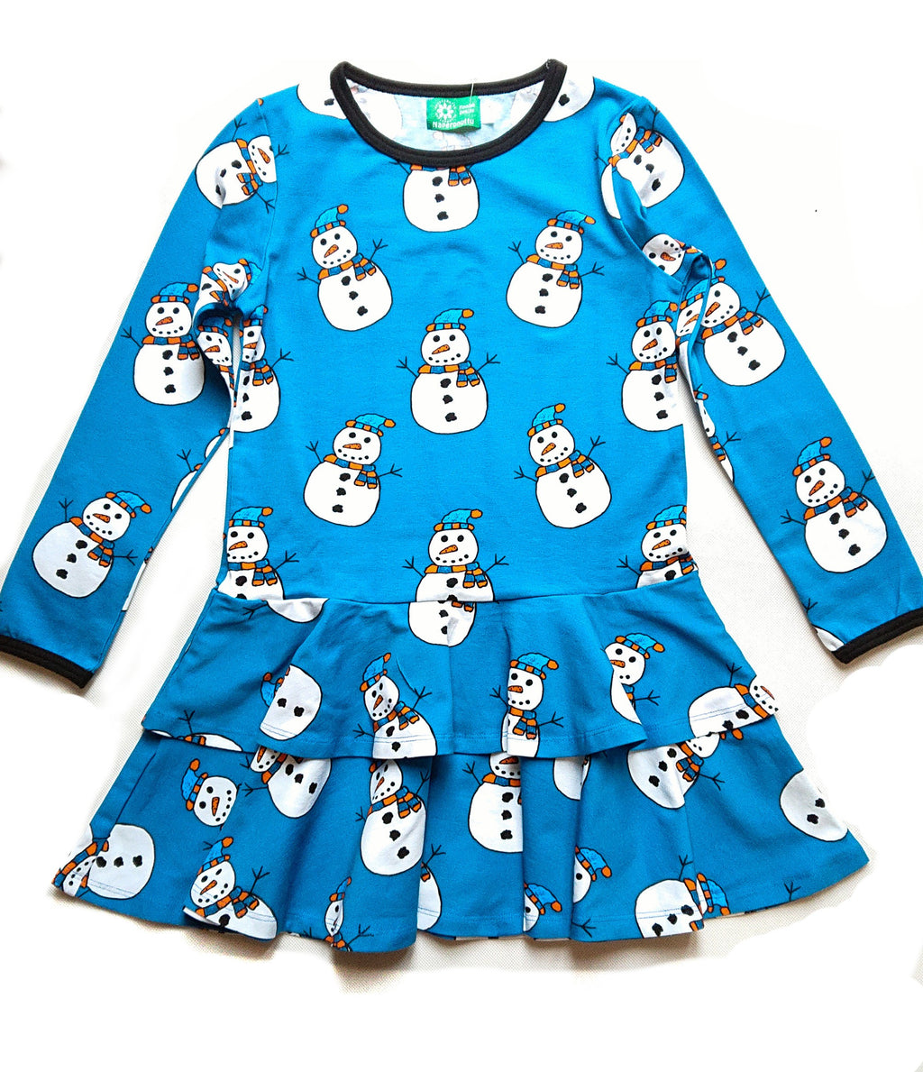 NAPERONUTTU organic cotton frilly dress SNOWMAN