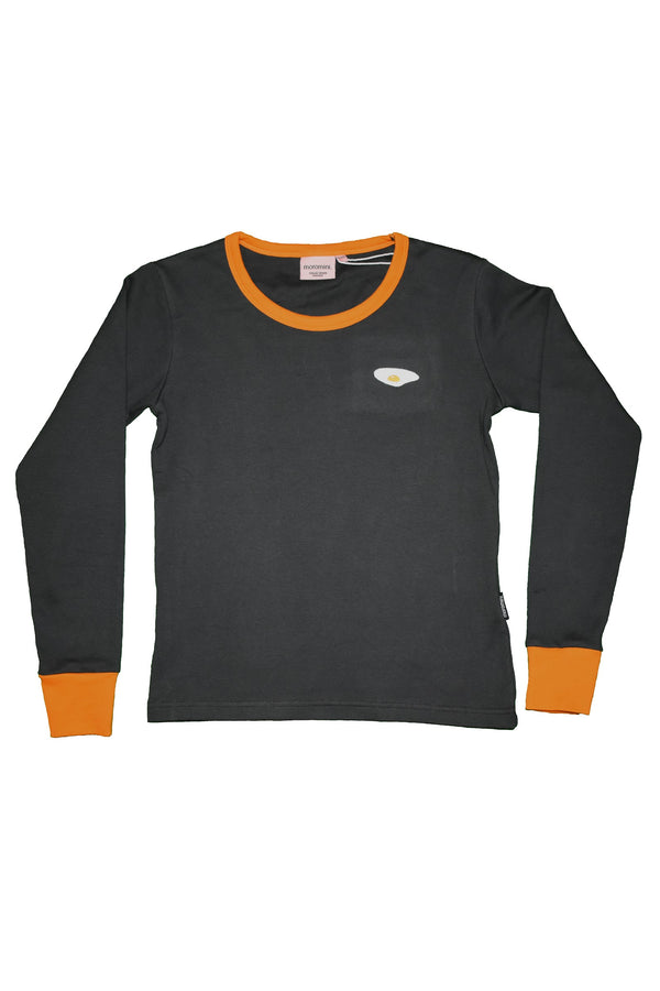 MOROMINI organic cotton ADULT long sleeved top CHARCOAL/ORANGE