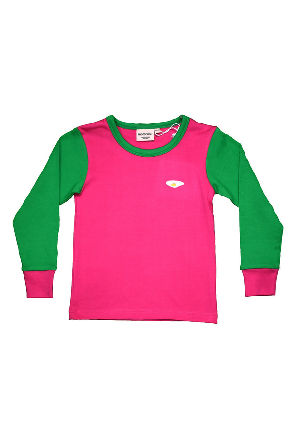 MOROMINI organic cotton long sleeved top PINK/GREEN