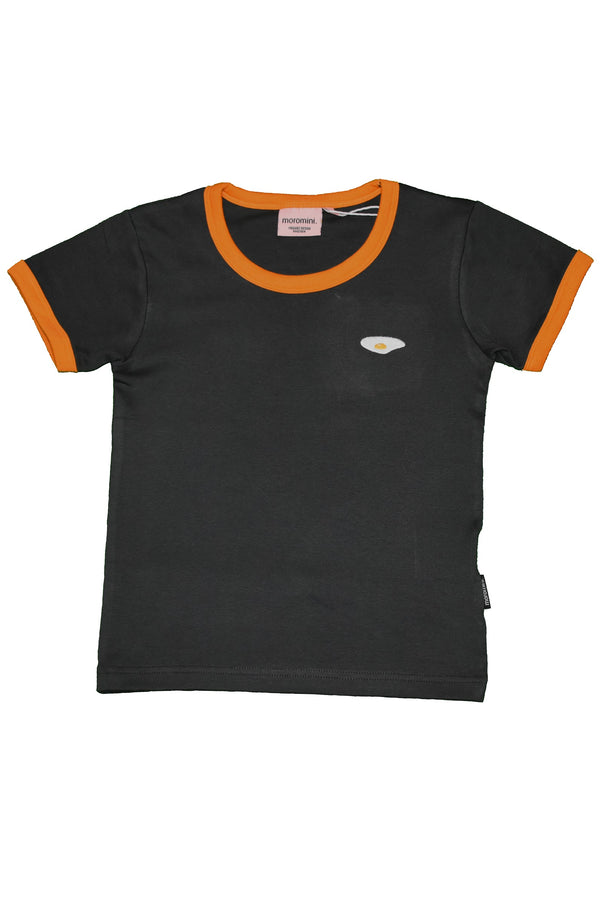 MOROMINI organic cotton T shirt CHARCOAL/ORANGE