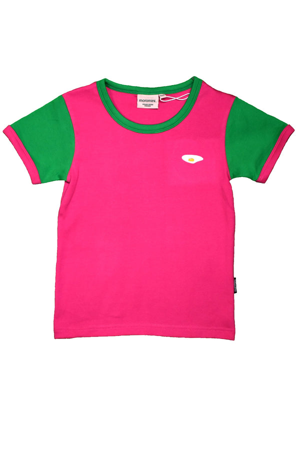 MOROMINI organic cotton T shirt PINK/GREEN