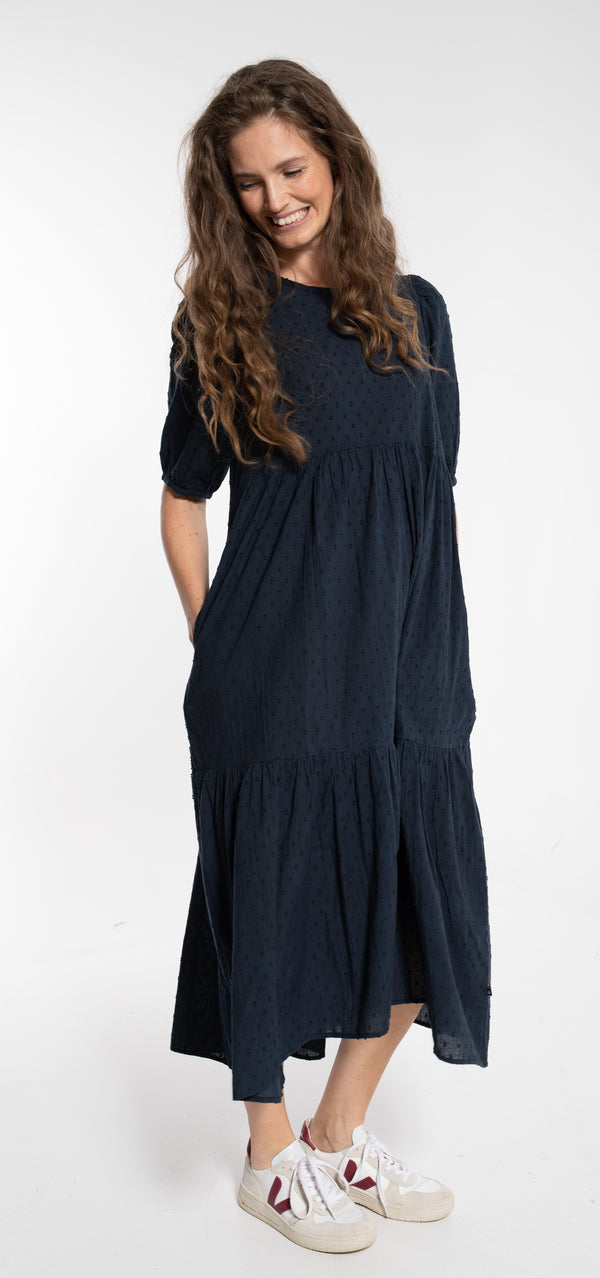 DANEFAE CPH maxi dress JULI/dusty navy