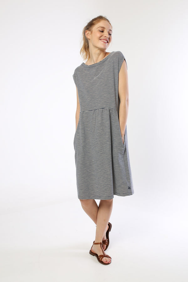 DANEFAE CPH ladies organic cotton DOMENICA dress COLD SLATE/CHALK