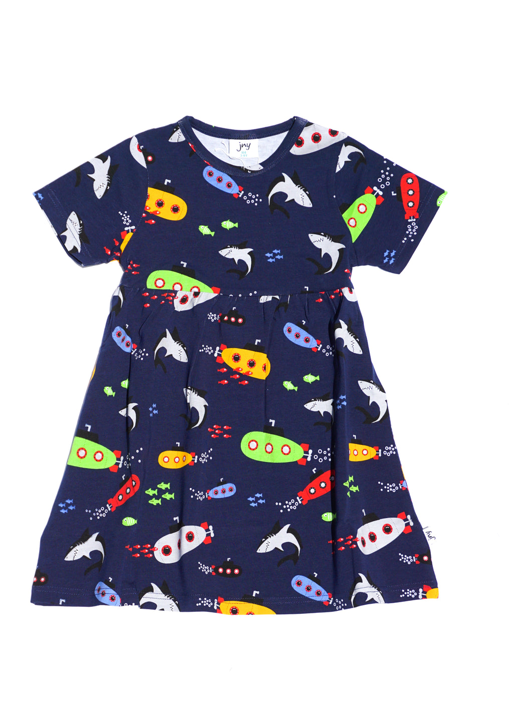 JNY colourful kids organic cotton short sleeved dress SUBMARINE
