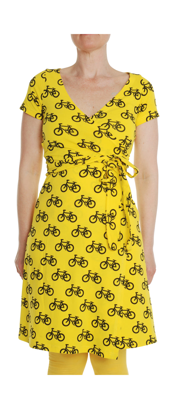 DUNS  organic cotton ADULT wrap dress BIKE/YELLOW