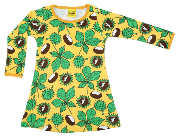 DUNS organic cotton long sleeved A line dress CONKERS/YELLOW
