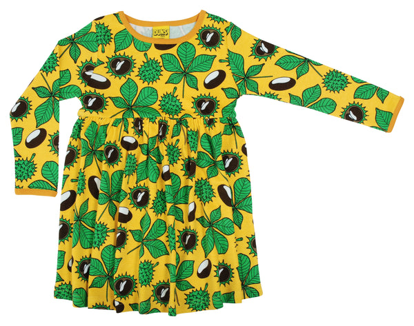 DUNS organic cotton long sleeved twirly dress CONKERS/YELLOW