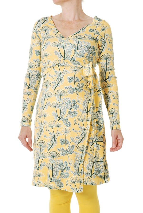 DUNS organic cotton ADULT wrap dress DILL/YELLOW