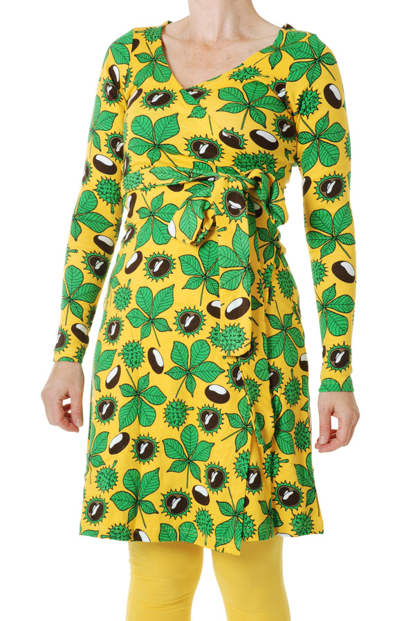 DUNS organic cotton ADULT wrap dress CONKERS/YELLOW