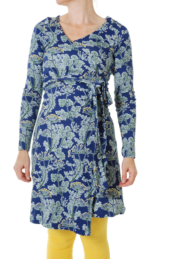 DUNS  organic cotton ADULT wrap dress DILL/ULTRAMARINE