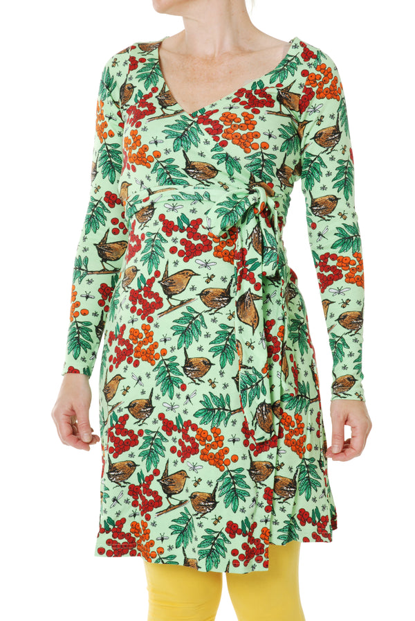DUNS organic cotton ADULT wrap dress ROWANBERRY/GREEN