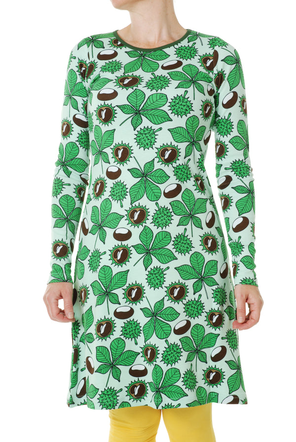 DUNS organic cotton ADULT long sleeved A line dress CONKERS/GREEN