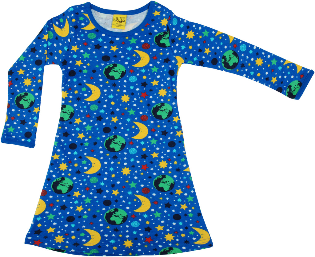 DUNS organic cotton long  sleeved ADULT A line dress MOTHER EARTH - BLUE