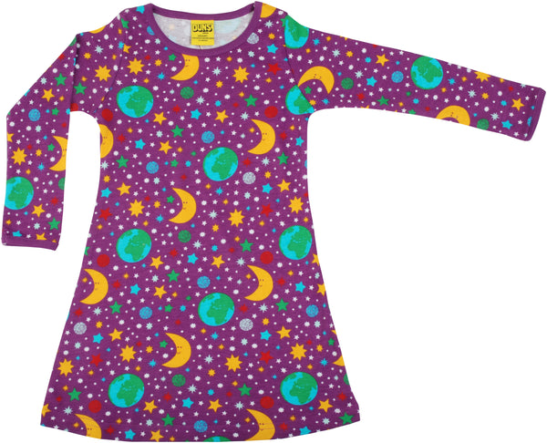 DUNS organic cotton long  sleeved ADULT A line dress MOTHER EARTH - VIOLET