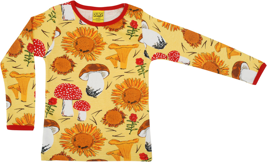 DUNS organic cotton long sleeved top ADULTS - SUNFLOWERS - YELLOW