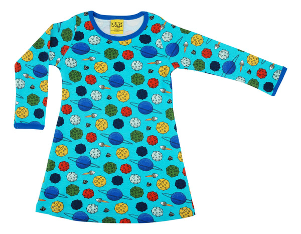 DUNS organic cotton long sleeved dress PLANETS
