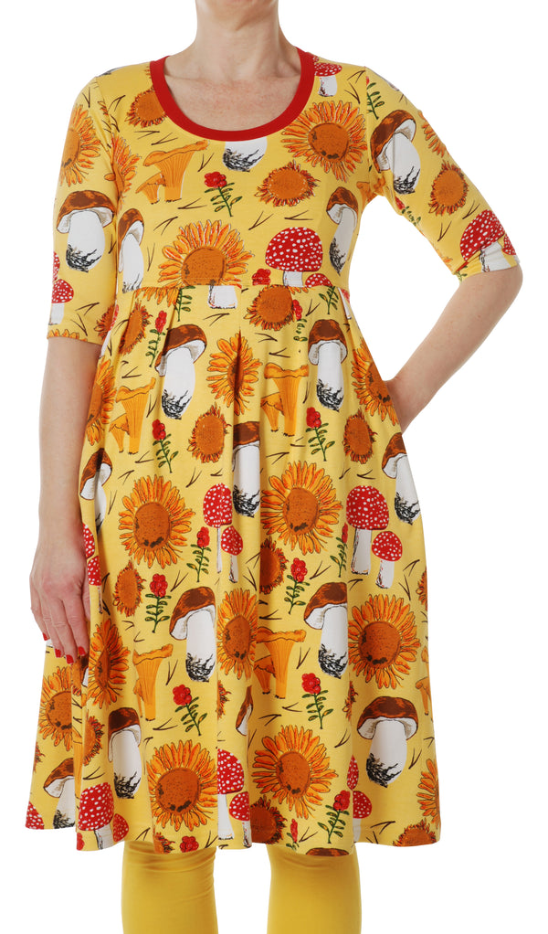 DUNS organic cotton scoop neck dress with pockets SUNFLOWERS/YELLOW