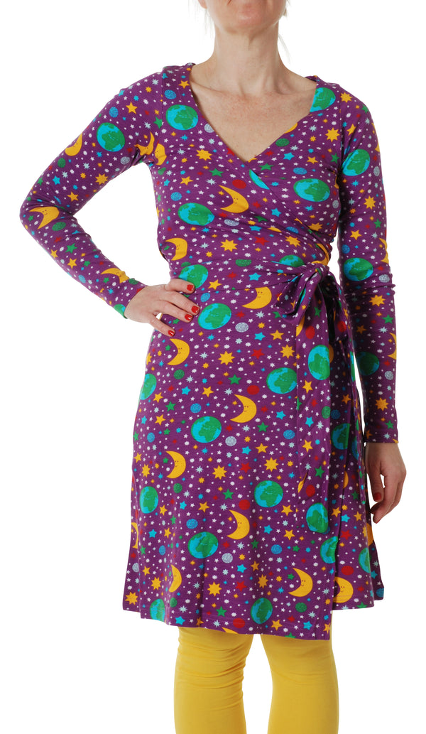 DUNS organic cotton long sleeved ADULT wrap dress MOTHER EARTH/VIOLET