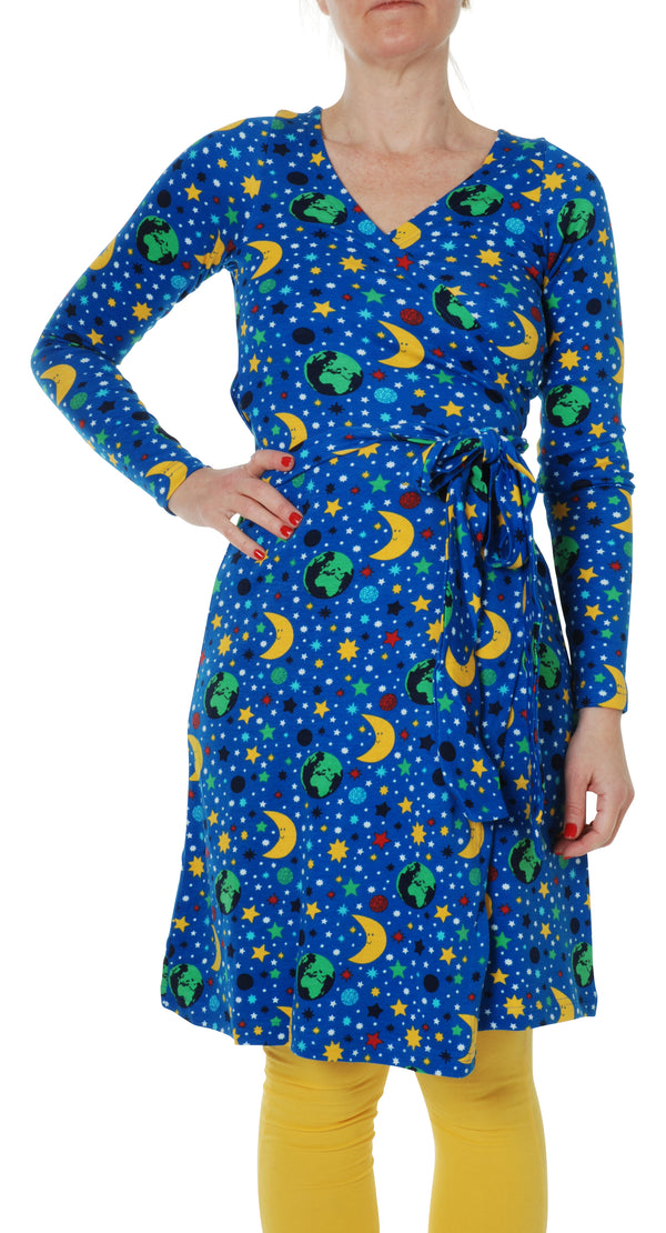 DUNS organic cotton long sleeved ADULT wrap dress MOTHER EARTH/BLUE