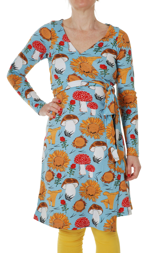 DUNS organic cotton long sleeved ADULT wrap dress SUNFLOWER/BLUE