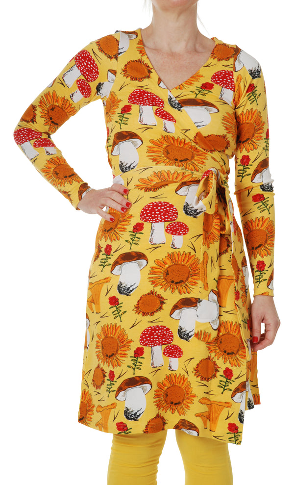 DUNS organic cotton long sleeved ADULT wrap dress SUNFLOWER/YELLOW