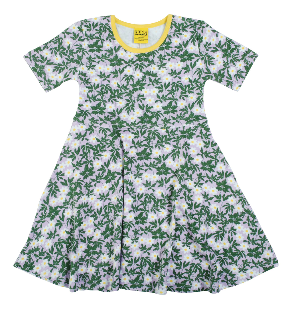 DUNS SWEDEN organic cotton skater dress WOOD ANEMONE/VIOLA