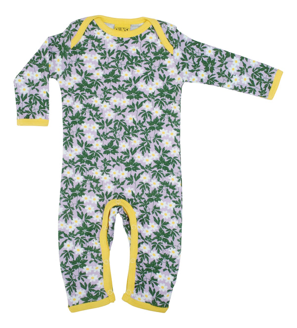 DUNS SWEDEN organic cotton lapsuit WOOD ANEMONE/VIOLA