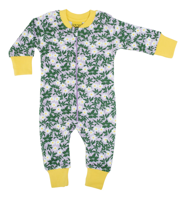 DUNS SWEDEN organic cotton zipsuit WOOD ANEMONE/VIOLA