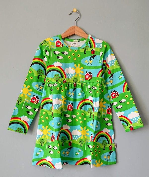 JNY colourful kids organic cotton long sleeved dress SUMMER COTTAGE