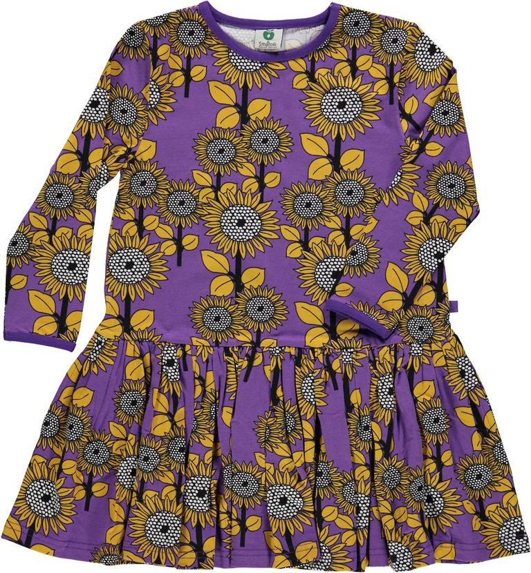 SMAFOLK organic cotton dress FLOWERS/PURPLE