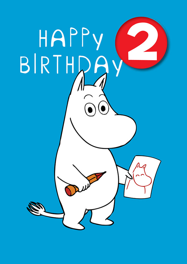 MOOMIN birthday card with a badge - 2nd BIRTHDAY