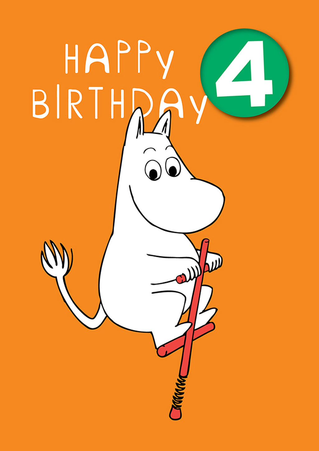 MOOMIN birthday card with a badge - 4th BIRTHDAY