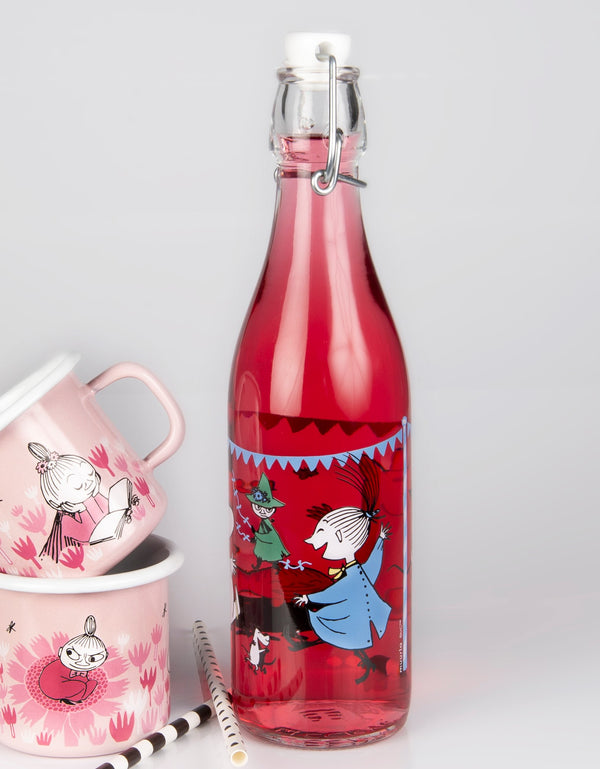 MOOMIN Muurla glass bottle with metal clasp 0.5l SUMMER PARTY