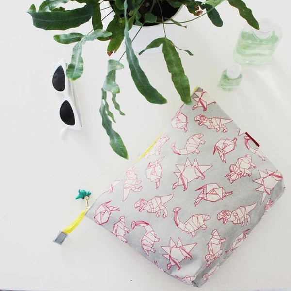 Origami dinosaurs wash bag